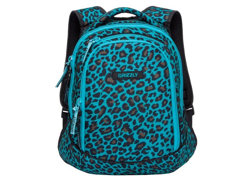 RD-756-1 Рюкзак школьный Grizzly леопард бирюзовый