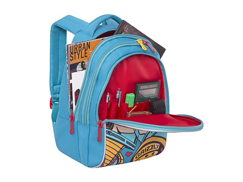 RD-758-1 Рюкзак школьный Grizzly бирюзовый