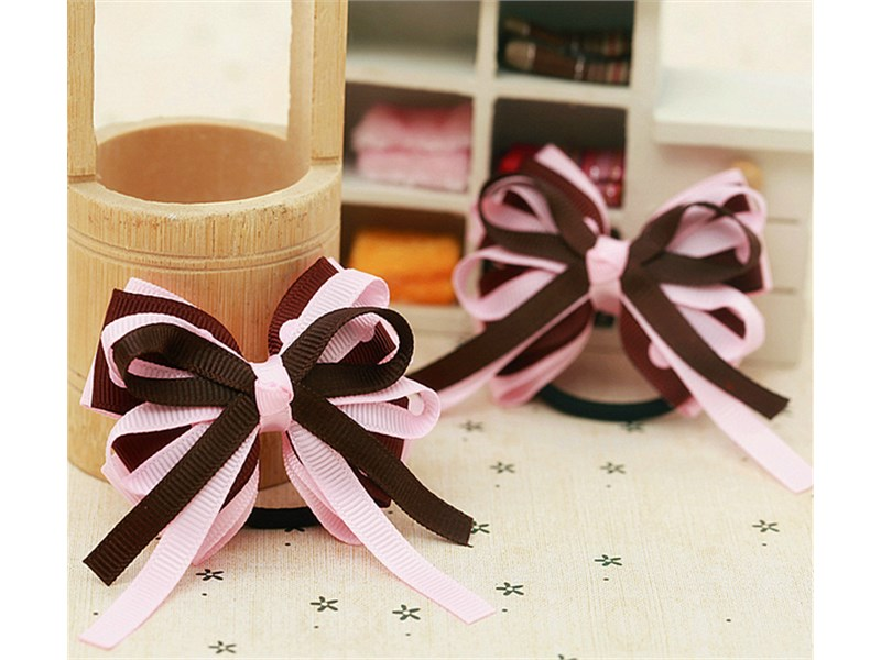 Резинка для волос Розовый бантик с коричневым 2 штуки