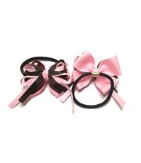 Фото 2. Резинка для волос Розовый бантик с коричневым 2 штуки
