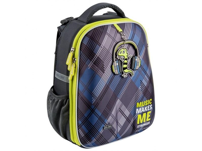 Школьный рюкзак Mike Mar Музыка т.серый/зеленый кант