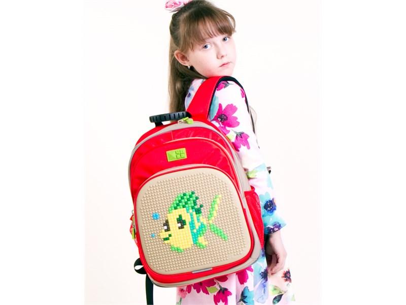 Рюкзак школьный 4ALL KIDS Рыбка Тюна красно-сиреневый