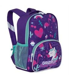 Рюкзак детский Grizzly, 23*30*11см, 1 отделение, 3 кармана, укрепленная спинка, фиолетовый