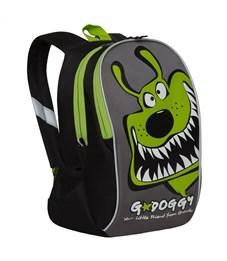 Рюкзак детский Grizzly, 23*35*14см, 2 отделения, 2 кармана, укрепленная спинка, черный-салатовый