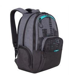Рюкзак Grizzly, 30*42*22см, 2 отделения, 4 кармана, анатомическая спинка, черный-бирюзовый