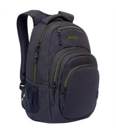 Рюкзак Grizzly, 33*48*21см, 1 отделение, 4 кармана, укрепленная спинка, черный-салатовый