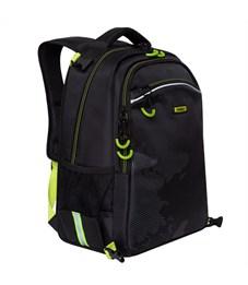 Рюкзак с мешком Grizzly, 28*39*17см, 2 отделения, 3 кармана, анатомическая спинка, черный-салатовый