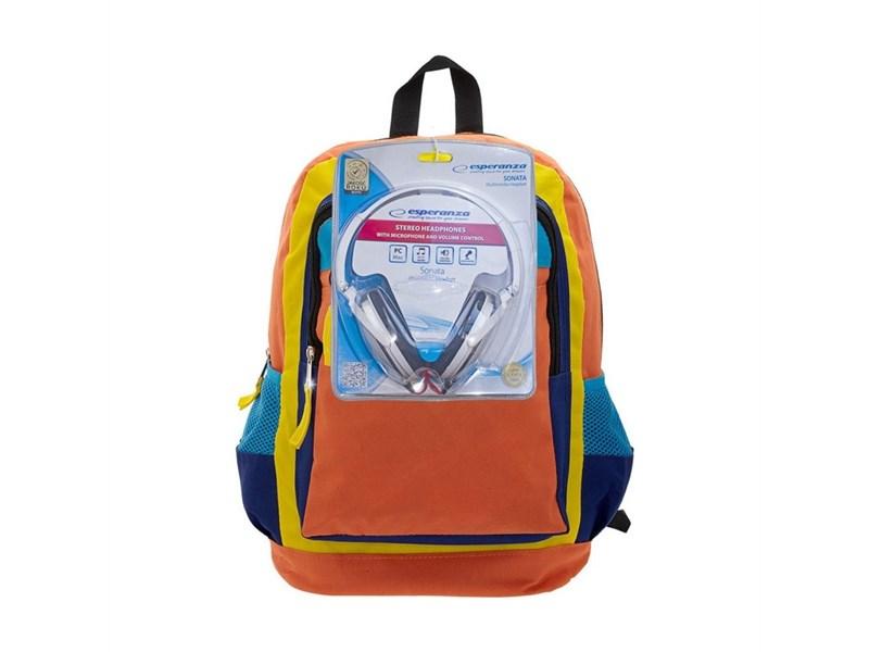 Рюкзак школьный 3D Bags Оранжевое настроение с наушниками