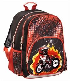 Рюкзак школьный Hama Motorbike красный/черный