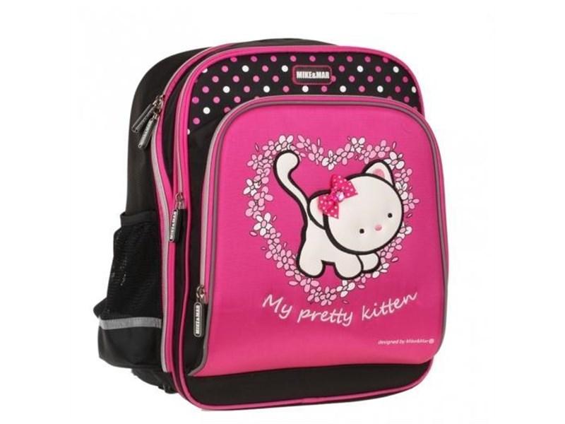 Рюкзак школьный Mike&Mar розовый с кошкой