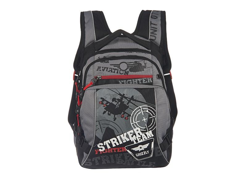 RU-515-2 Рюкзак школьный Grizzly черный-серый