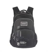 RU-518-7 Рюкзак школьный Grizzly черный-серый