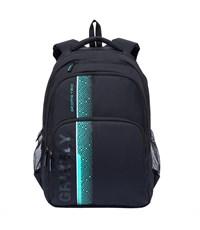 RU-707-1 Рюкзак школьный Grizzly черный-бирюзовый
