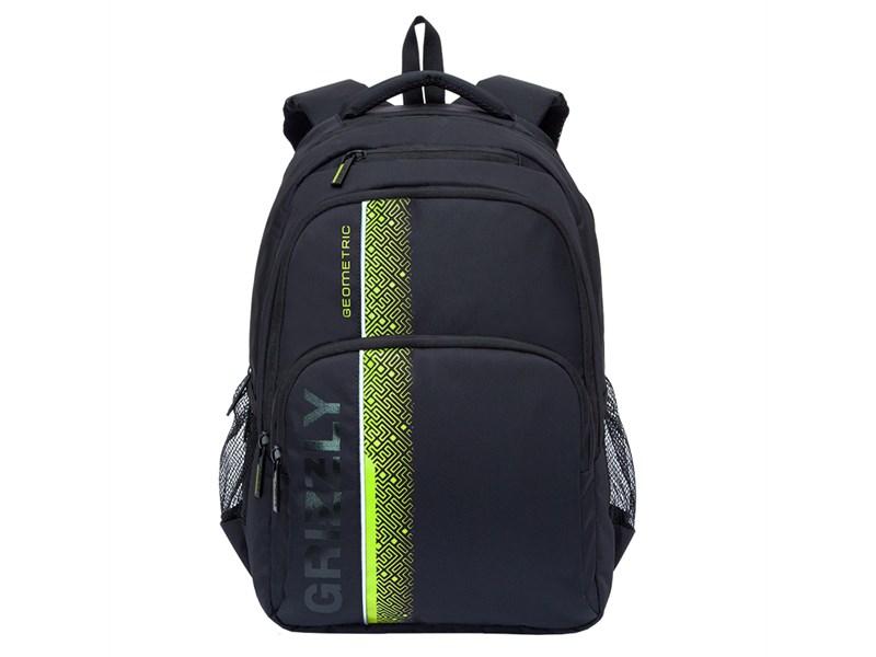 RU-707-1 Рюкзак школьный Grizzly черный-салатовый