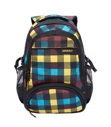 RU-709-1 Рюкзак школьный Grizzly клетка радуга