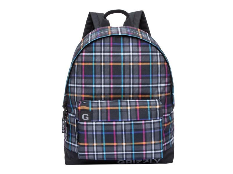 RU-709-3 Рюкзак школьный Grizzly клетка цветная