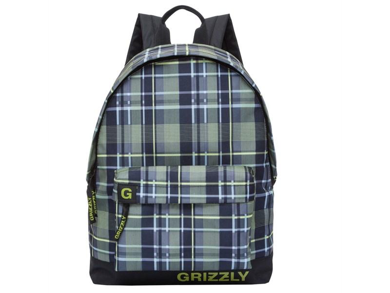 RU-709-3 Рюкзак школьный Grizzly клетка оливково-желтая