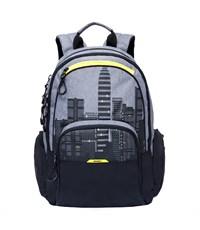 RU-713-2 Рюкзак школьный Grizzly черный-желтый