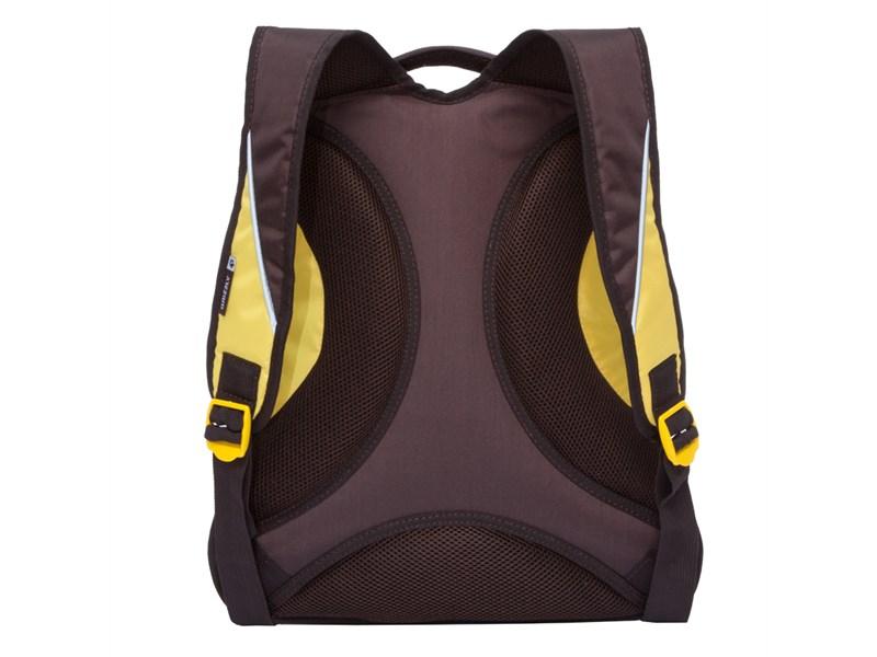 RU-716-1 Рюкзак Grizzly коричневый - лимонный