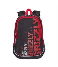 RU-721-1 Рюкзак школьный Grizzly черный-красный