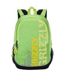 RU-721-1 Рюкзак школьный Grizzly черный-салатовый