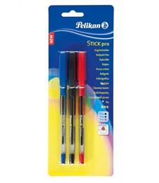 Ручка шариковая автоматическая Pelikan Stick Pro, 3 шт, 3 цвета