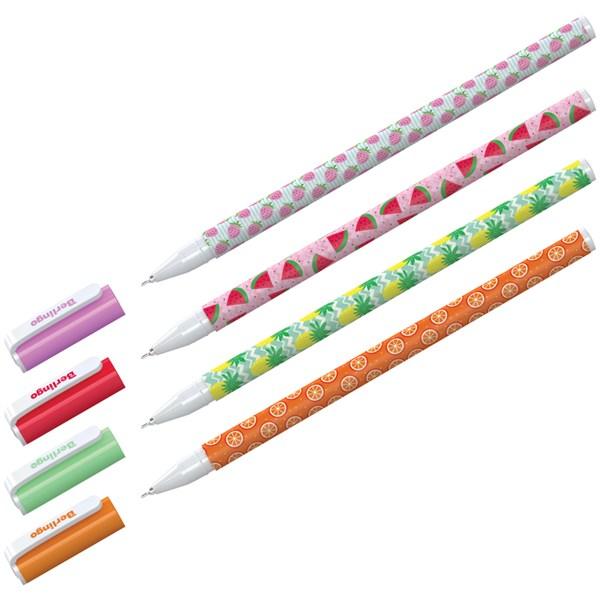 """Ручка шариковая Berlingo """"Funline. Fruits"""", синяя, 0,7мм, рисунок на корпусе, ассорти"""