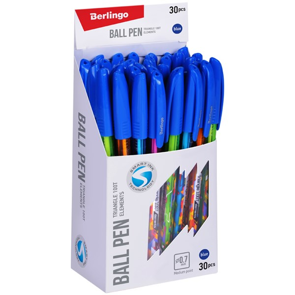 """Ручка шариковая Berlingo """"Triangle 100T Elements"""", 0,7мм, синяя"""