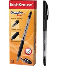 Ручка шариковая черная GRAPHO SEMI-GEL резин.грип 0,7 мм
