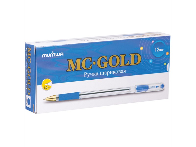 "Ручка шариковая MunHwa ""MC Gold"" синяя, 1,0мм, грип, штрих-код"