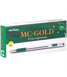 "Фото 4. Ручка шариковая MunHwa ""MC Gold"" зеленая, 0,5мм, грип, штрих-код"
