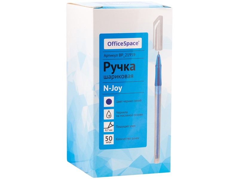 """Ручка шариковая OfficeSpace """"N-Joy"""" синяя, 0,7мм, на масляной основе, штрихкод"""