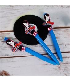 """Ручка шариковая с большим фигурным клипом """"SWAG"""", синяя, зебра с серфом"""