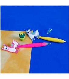 """Ручка шариковая с большим топпером """"Лама и кактус"""", синяя, лама, ассорти, прорезиненный корпус"""