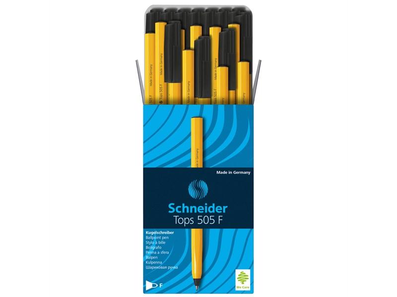 """Ручка шариковая Schneider """"Tops 505 F"""" черная, 0,8мм, оранжевый корпус"""