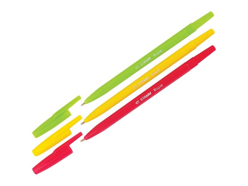 """Ручка шариковая Стамм """"Тропик"""" синяя, 1мм, ассорти"""