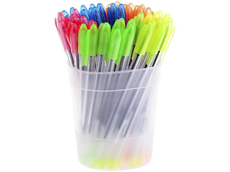 """Ручка шариковая Стамм """"VeGa Neon"""" синяя, 0,7 мм, прозрачный корпус"""