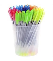 "Фото 3. Ручка шариковая Стамм ""VeGa Neon"" синяя, 0,7 мм, прозрачный корпус"