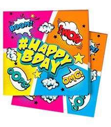 "Салфетки ПатиБум ""Комиксы. HappyBday"", 24*24см, 12шт., европодвес"