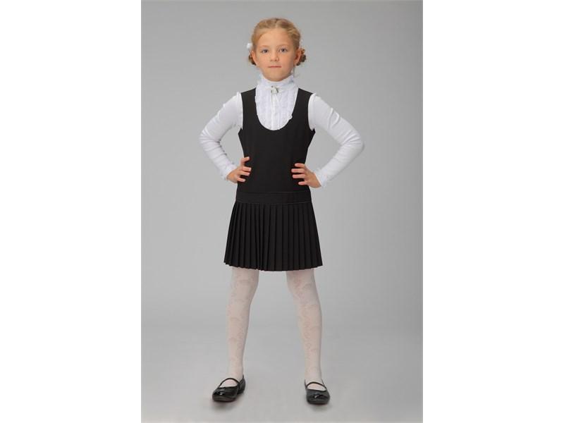 Сарафан школьный Инфанта с плиссированной юбкой, черный