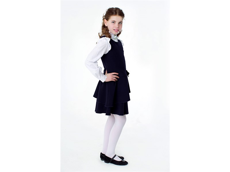 Сарафан школьный Инфанта с заниженной талией, синий