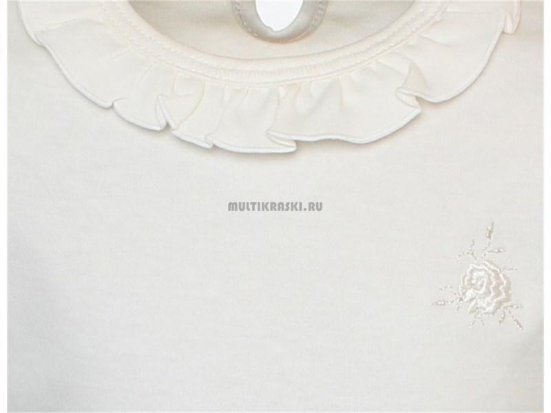 Школьная кофточка белая Снег с рюшкой по воротнику 1274-ДРК-13