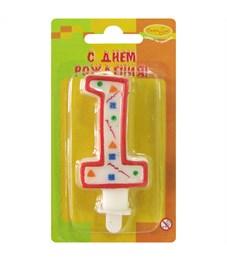 """Свеча для торта с держателем ПатиБум """"Цифра 1. Красное конфетти"""", 8см"""