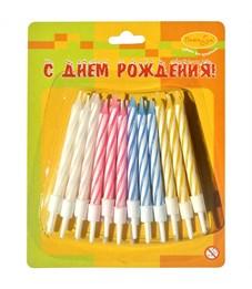 Свечи для торта с держателями ПатиБум, Мини, 2-х цветные, 6см, 24шт.