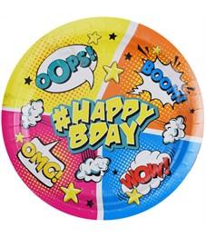 """Тарелки бумажные ламинированные ПатиБум """"Комиксы. HappyBday"""", 18см, 6шт., европодвес"""