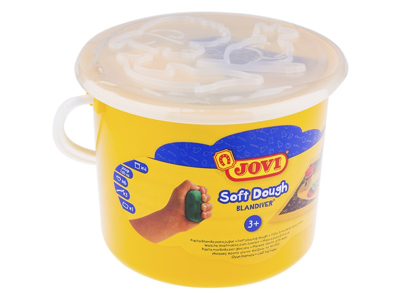 Тесто для лепки JOVI, 04 цвета*50г, аксессуары, пластиковое ведро