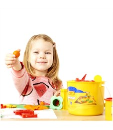 Фото 5. Тесто для лепки JOVI, 04 цвета*50г, аксессуары, пластиковое ведро