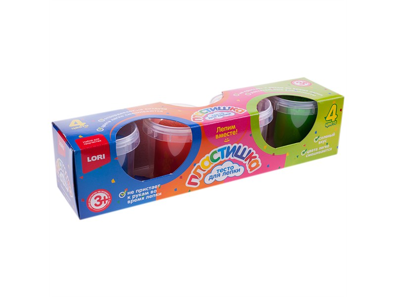 """Тесто для лепки Lori """"Пластишка"""", 04 цвета*100г, картон"""