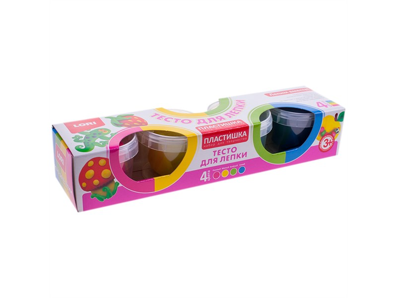 """Тесто для лепки Lori """"Пластишка"""", 04 цвета*80г, яркие цвета, картон"""