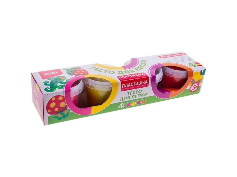 """Тесто для лепки Lori """"Пластишка"""", 04 цвета*80г, классические цвета, картон"""